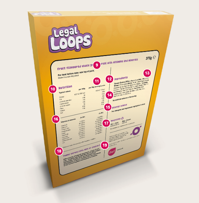 Reverse of a mocked up 'Legal Loops' cereal packet