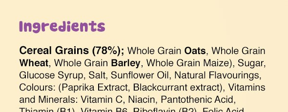 List of ingredients from mock cereal packet