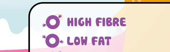 Close up of the mocked up cereal packet reading 'High Fibre, Low Fat'