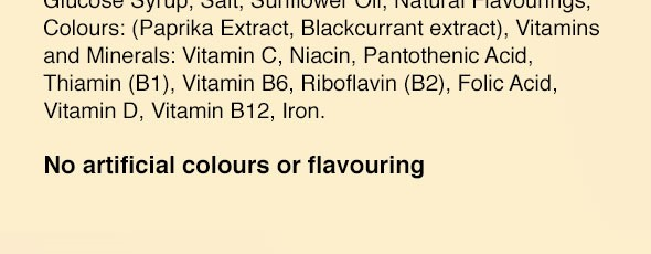 Close up of label on mock cereal packet reading 'No artificial colours or flavouring'